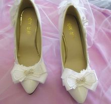 Thin heel 9cm women's wedding pumps shoe point toes sexy white bridal shoes with bow lace flower decoration bridesmaid pump