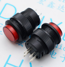 15pcs R16-503AD red/green self-locking switch button switch with LED Round 16MM 3A / 250V