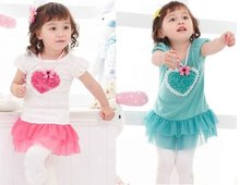 2016 New Arrived Free Shipping Baby Dress/Loving Heart design 2 colors:Pink&Blue