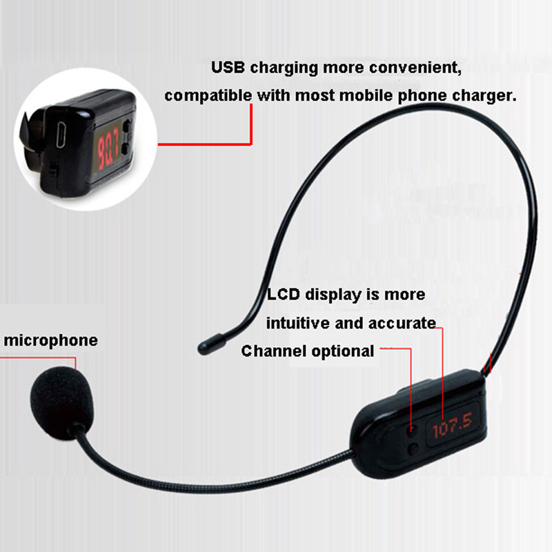 Top Quality! COMLYO FM Wireless Microphone Headset Megaphone Radio Mic For Loudspeaker Teaching Meeting Tour Guide Microphones(China)