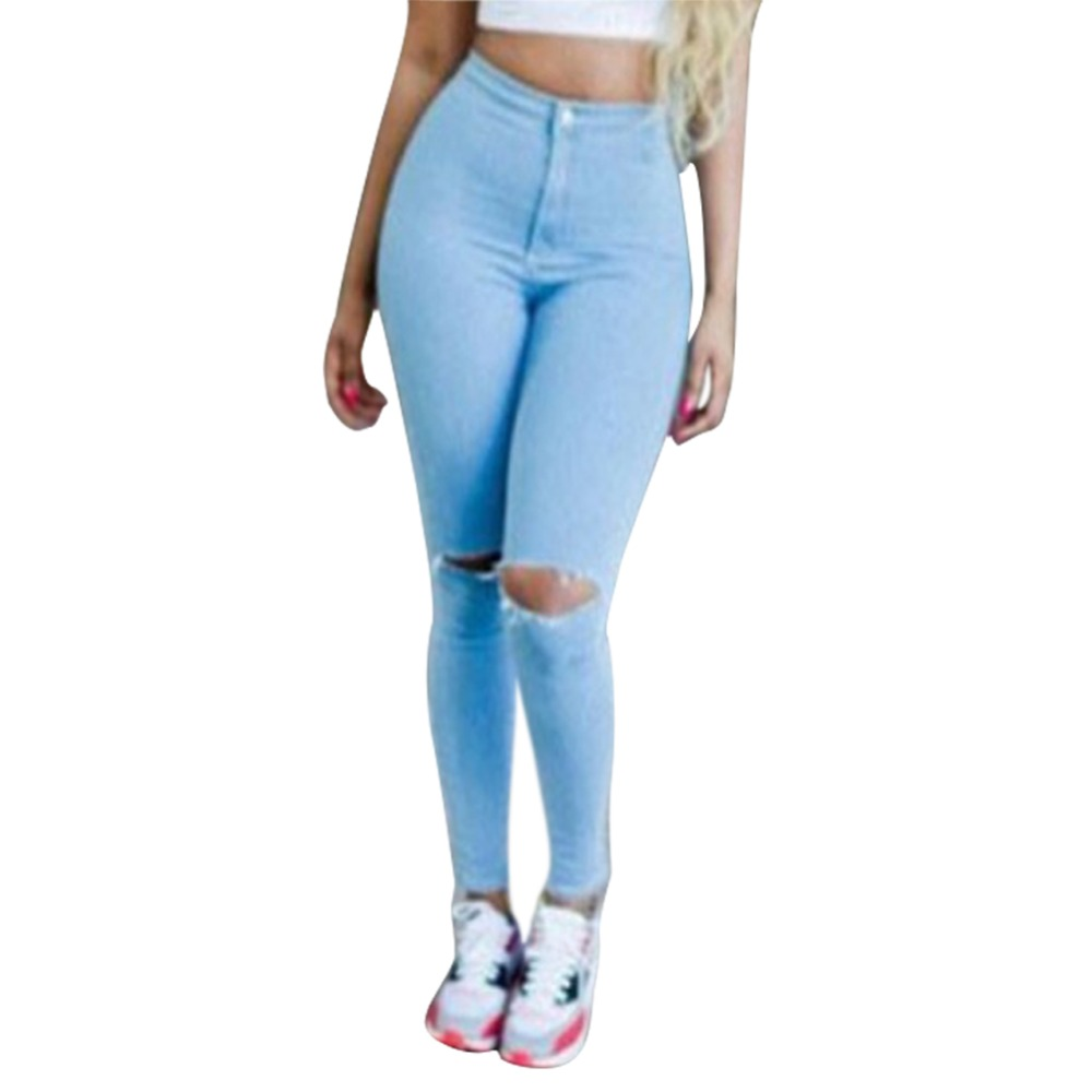 Fashion New Brand Women Jeans Hole Ripped Pantalon High Waist Denim Pants Skinny Slim Fit Vaqueros Female Femme 01C0206Одежда и ак�е��уары<br><br><br>Aliexpress