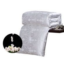 CARACARLE Silk Comforter White Qualified Duvet Mulberry Silk Satin Jacquard Quilt Full Queen King Size Chinese silk SOFT bedding(China)