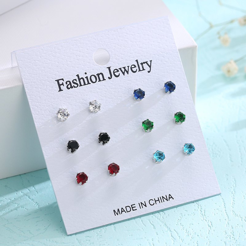 CARSINEL New Design jewelry Colorful 6 Pairs/set Stud Earrings women Cubic Zirconia Stud Earrings Girls Gift ER0299