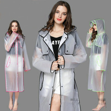 New Fashion EVA Women Poncho With Hat Ladies Waterproof Long Translucent Raincoat Adults Rain Coat