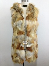 Free Shipping Hot Sale!Genuine Natural Red fox Fur Vest Women Luxury Fox Fur Jacket New Desigh hood Winter DFP414