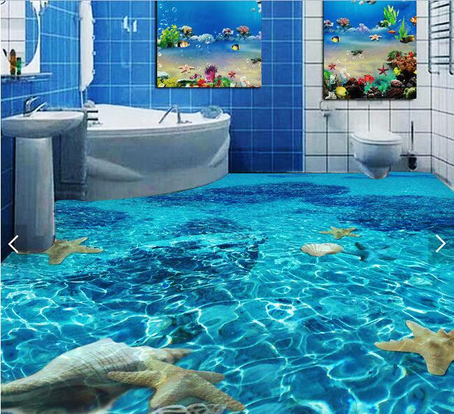 3d pvc flooring custom waterproof wallpaper Clear water starfish conch 3d bathroom flooring picture photo wallpaper for walls 3d<br>