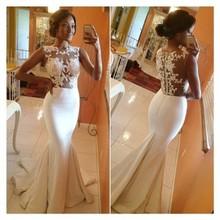 robe de soiree Long Evening Dresses 2016 Elegant Sleeveless Sheer Top Floor-Length Ivory Formal Mermaid Lace Evening Gowns