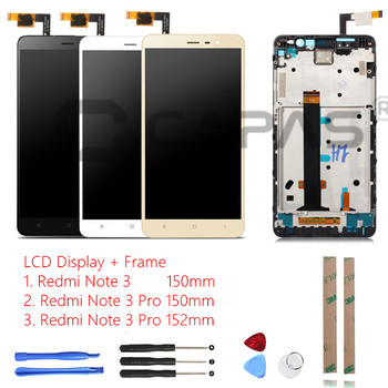 CAPAS Tested For Xiaomi Redmi Note 3 Pro Frame Touch Screen Panel 3 LCD Display