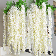 White Wisteria Garland Hanging Flowers 5pcs For Outdoor Wedding Ceremony Decor Silk Wisteria Vine Wedding Arch Floral Decor(China)