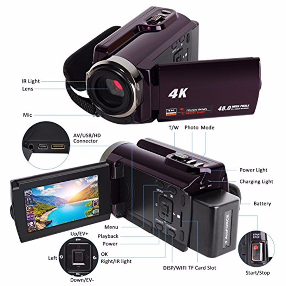 4K Camcorder Video Camera Ultra HD 60 FPS Digital Video Recorder Wifi night Vision LCD Touchscreen External with Wide Angle Lens 11