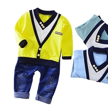 Spring Autumn Fashion Children Clothes Full Sleeve T-shirt And Pants 2pcs Handsome Gentleman Suit Boy Clothing Set Kid Tracksuit