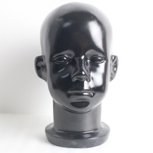 Black Fiberglass Child Children Kid Mannequin Head For Wig And Hat Display