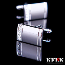 KFLK Jewelry 2016 NEW HOT shirt Silver cufflinks for mens gifts Brand cuff buttons Crystal cuff links High Quality Free Shipping(China)