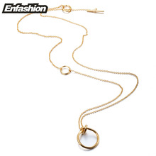 Enfashion Classic Knot Pendants Necklaces Stainless Steel Gold color Choker Necklace For Women Long Chain Jewelry Collier(China)