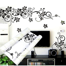 Fashion Butterfly Vine Flower Vinyl Wall Art Stickers, Wall Decals, Wall Graphics Decor New(China)