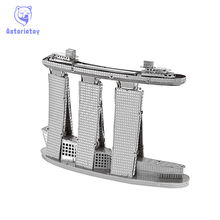 Hot Sale World Famous Building 3D Metal Puzzles Singapore Sands Hotel  Metal Earth Jigsaw Puzzle For Adult/Kids