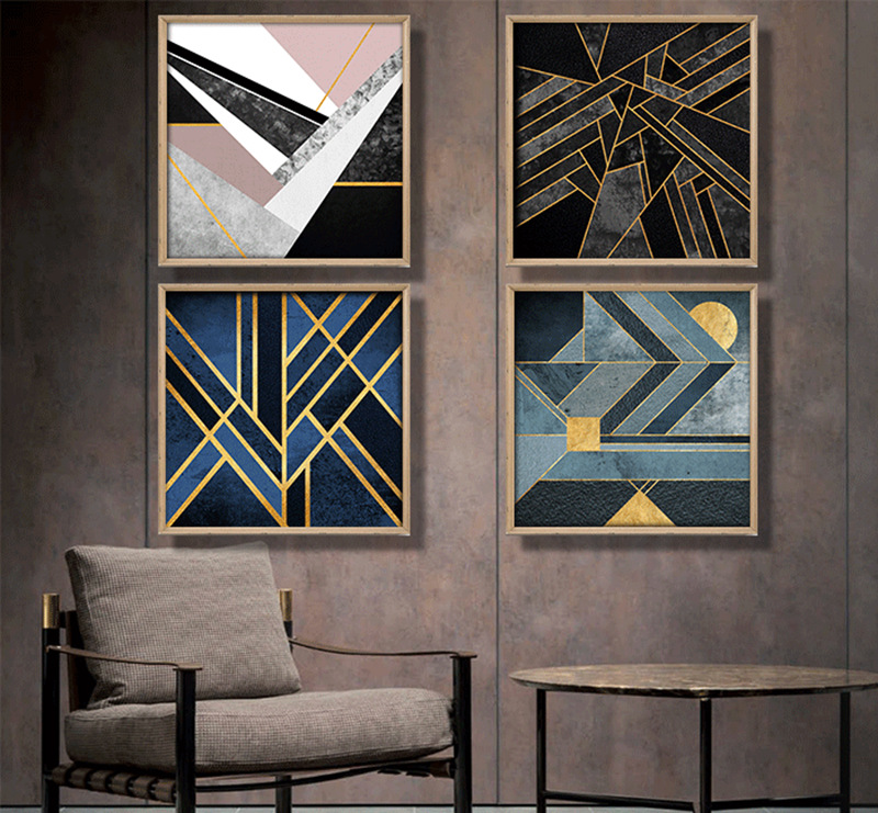 Nordic-geometric-abstract-canvas-painting-blue-color-gold-thread-Home-Decor-On-Canvas-Modern-Wall-Prints