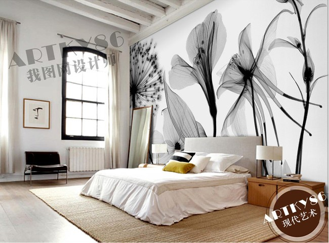Custom 3d mural 3D Beautiful black white art transparent Lily Rose dandelion wallpaper bedroom living room wallpaper mural<br>