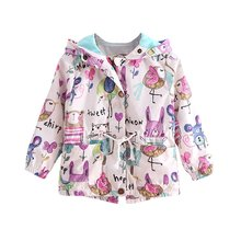 Spring Autum Cute Girl Coat Print Cartoon Graffiti Hooded Zipper Jacket Full Sleeve Toddler Outerwear
