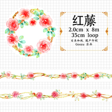 Goozu Watercolor Rose Vine DIY Washi Tape Beautiful Flower Decorative Sticker Masking Tapes for Craft Diary Deco Scrapbooking