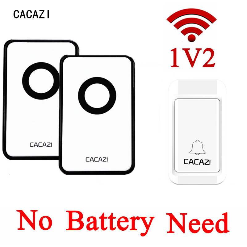 CACAZI Self-powered No Battery Need EU/US Plug-in Wireless Door Bell Waterproof Bell Ring Push Button +2 Indoor Receivers<br>