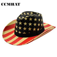 American Flag Cowboy Hat 2017 Fashion Women Cowboyhoed Hat Paper Print Usa Flag Summer Chapeu Western Cowboy Hat Cap Accessories