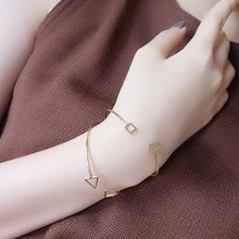 Free shipping Korean women metal jewelry design accessory gift geometry triangle round bracelet simple temperament female bangle