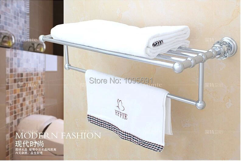 Luxurious Brass+Crystal Chrome plated Towel Rack,towel Shelf with Bar,towel Holder Bathroom accessories<br><br>Aliexpress