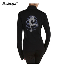 Customized Costume Ice Skating Figure Skating Tops Jacket Zipper Warm Fleece Adult Child Girl Training Clothing Rhinestones