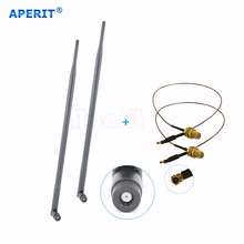 Aperit 2 9dBi 2.4GHz 5GHz 5.8GHz RP-SMA WiFi Antennas + 2 U.fl for Linksys EA2700 Cable(China)