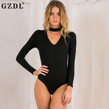 GZDL Autumn Winter Women's Sexy Bodysuit Stylish Long Sleeve Plunge V Neck Solid Knitted Women Tops Bodysuits Five Colors CL3295(China)