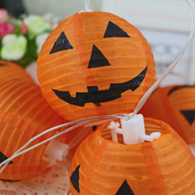 Halloween Decoration 3inch(7.5CM) 10PCS  Pumpkin Light Hanging  Silk Lantern Lamp Kids Party Supplies HomeDecoration Supplier
