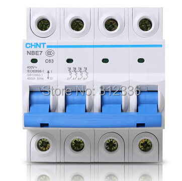 Free Shipping  Two  years Warranty  C63 4P 63A  4 pole  domestic C type small air switch unipolar Electric shock protection<br>