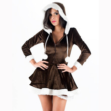 New Arrival 2017 Eskimo Cutie Women's Sexy Theatre Costumes High Quality Miss Santa Dress Christmas Fancy Dress W4005A(China)