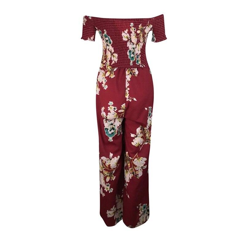 Woman Summer Jumpsuit 2018 New Elegant Off Shoulder Sexy Strapless Floral Print High Waist Jumpsuits Playsuits Wholesale #L09 (8)