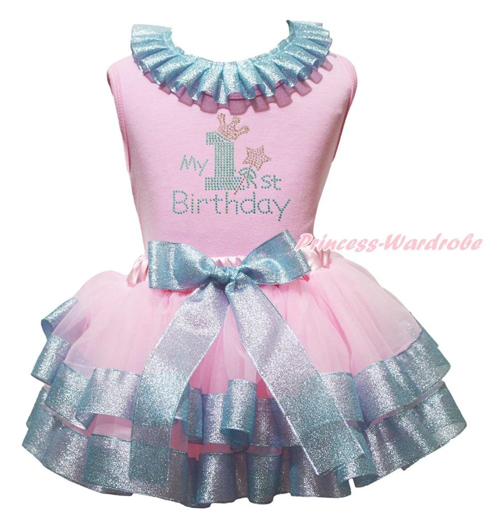 My 1st 2nd Birthday 1st Cupcake Plain Pink Top Hot Pink Ruffles Shoulder Pink Light Blue Girls Petal Skirt Outfit NB-8Y<br><br>Aliexpress