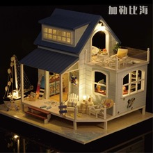 Caribbean Seaside Villa DIY Wood Doll house 3D Miniature Music box+Lights+Furnitures Building model Home&Store decoration Toys