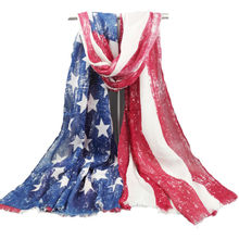 [Visual Axles] American Independence Day Accessories USA Flag Scarf 2017 Womens'  Vintage American Flag Scarf