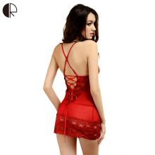 M~XXXL Core Sexy Sleepwear Female Temptation Dress Women's Summer Lace Nightgown Spaghetti Strap Belt Underwear(China)