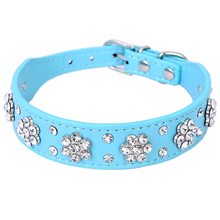 New Cute Bling Rhinestone Flowers Dog Collar Diamante Small Pet Cat Puppy PU Leather Collar Necklace Buckle Size S M XQ076(China)