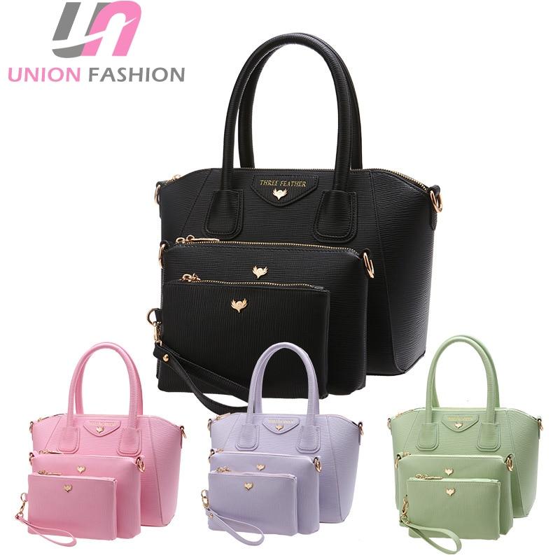 High Quality 3pcs Womens Fashion Bag Set Pu Leather Solid Color Shoulder Messenger Bag Casual Tote Handbags<br>