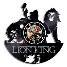 Free Shipping 1Piece 3D Decorative Wall Clocks Cartoon Animal Theme The Lion King Vintage Vinyl LP Record Time Clock Wall Art