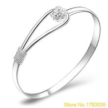 Women Hot Sale Jewelry Silver Plated Simple Circle Flower Rose Cuff Bangle Bracelet 4TSO