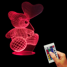 Free Shipping 1Piece  Little Bear Love Heart Balloon 3D Lamp Colorful Discoloration For Girls Bedroom LED Night Light