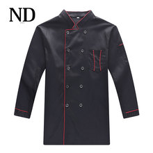 New Autumn Winter Chef Uniforms Coat Kitchen Chef Jackets Long Sleeve Hotel Workwear Black Colour(China)