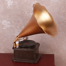 Vintage Home Decoration Miniature Phonograph Model Furniture Craft Furnishing Ornaments Bar Coffee Craft Christmas New Year Gift(China)