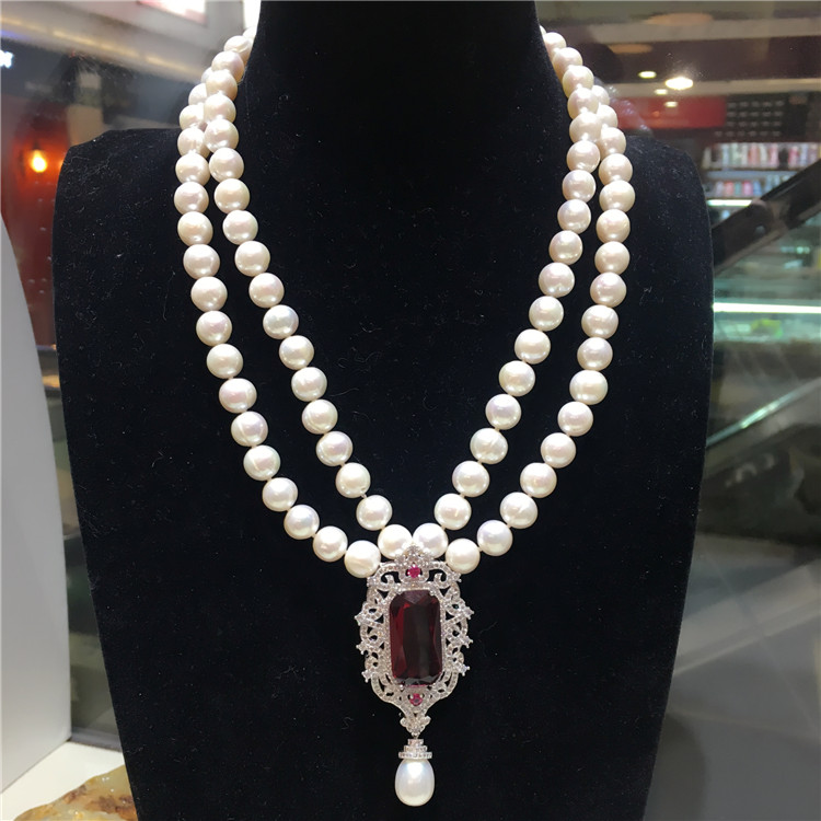 Hot sell new 9-10mm natural white fresh water pearl zircon accessories double short necklace fashion jewelry