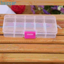 Haicar Factory Price Hot Sale 10 Grids Adjustable Jewelry Beads Pills Nail Art Tips Storage Box Case or organizer Aug23
