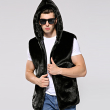 HONGZUO 2017 New Arrival Fashion Men Fur vest Turn-down Collar Luxury Mink Fur Coat Hooded Artificial Fur Long Jacket PC260