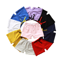 Baby Shorts 100% Cotton Summer Surf Beach Shorts For Boys Girls Bow Ruffle Short Toddler Swimsuit Candy Color Kids Clothing(China)
